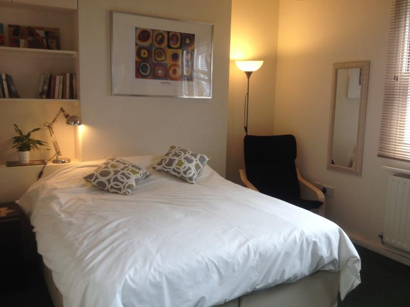 Studio room with large comfortable double/2 single beds.