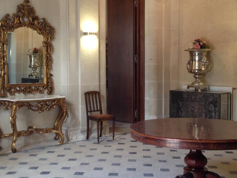 The grand hall giving access to the principal rooms of the château.