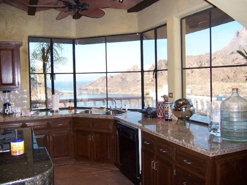 Kitchen looking out at the Sea of Cortez, mountains and marina. You tube video at https://www.youtub