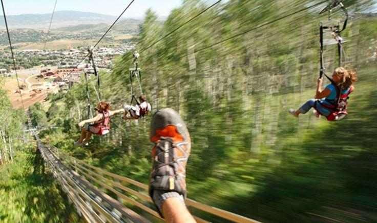 Zip line in Park City resort, also has a great coaster and a slide through the trees