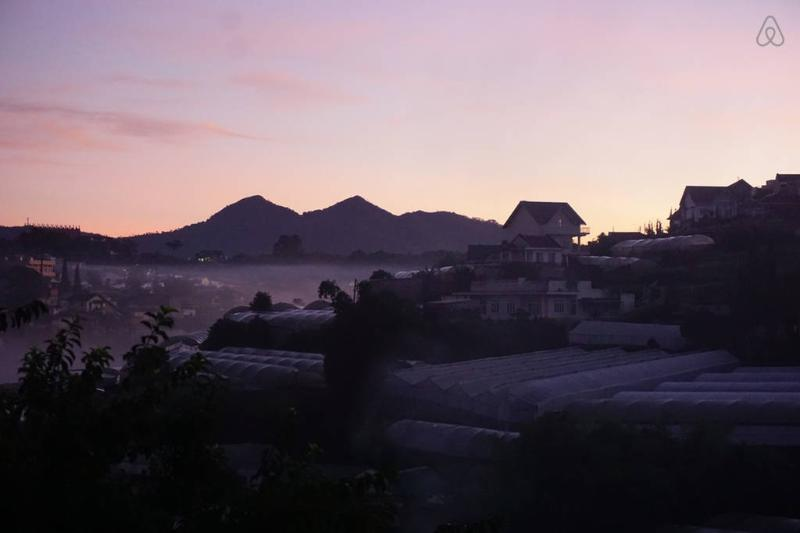 View of Lang Biang mountain from the Farm Villa.