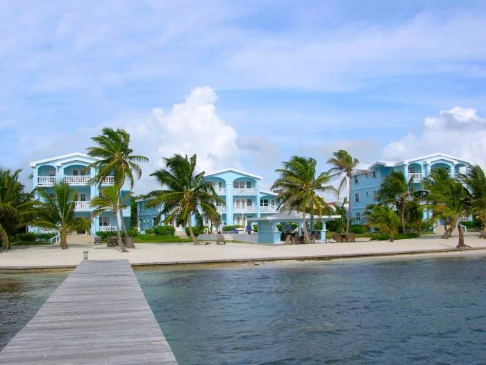 View of resort from the water; this condo is in Building A, the center building