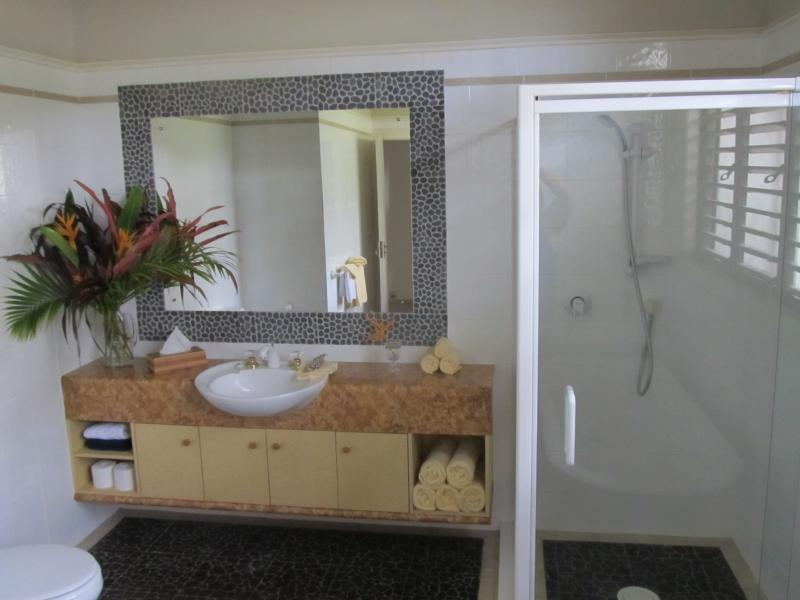 there are two bathrooms, the main with a clawfoot bath for absolute luxury !