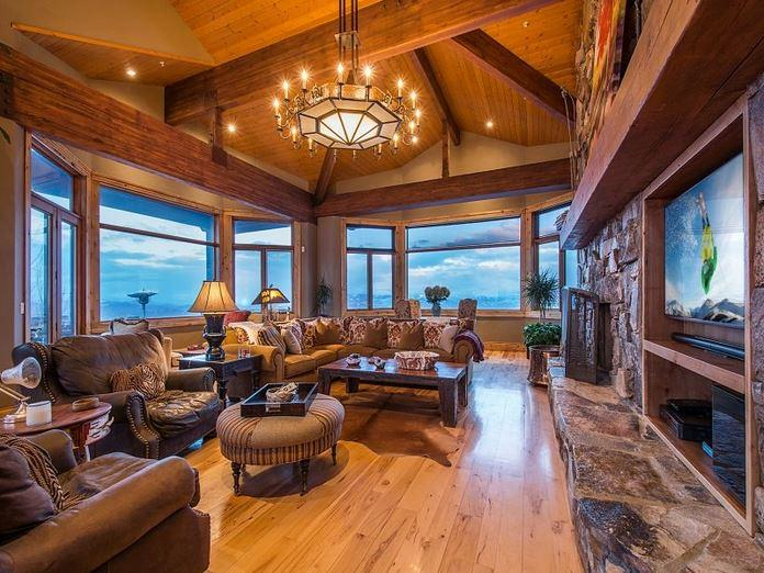 very large main living area with mountain views