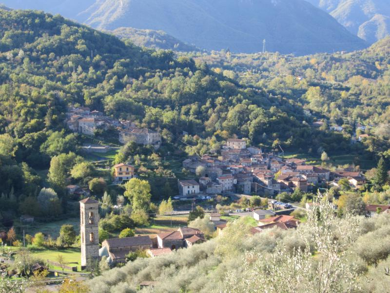 The village of Codiponte and its famous Romanesque church and campanile.
