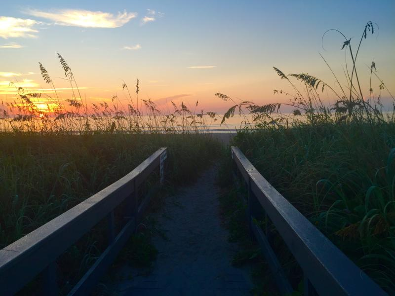 crossing over our private walkway to watch the sunrise august 2015