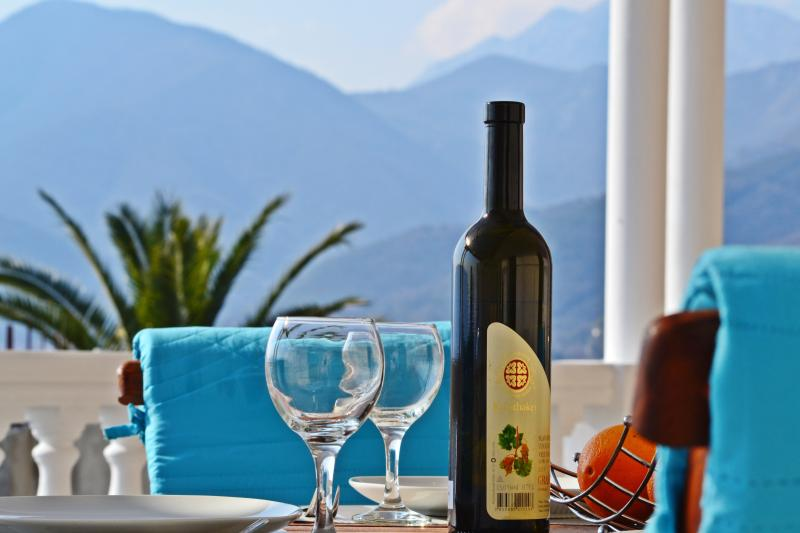 Relax time at terrace overlookng the mountain. Bayview Apartments Tivat Montenegro