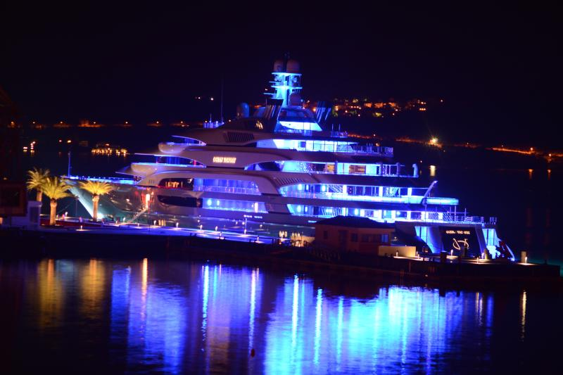 Night View of Super Yacht park at Porto Montenegro