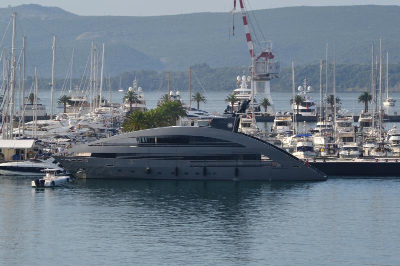 Super yachts parked at Porto Montenegro. Bayview Apartments Tivat Montenegro