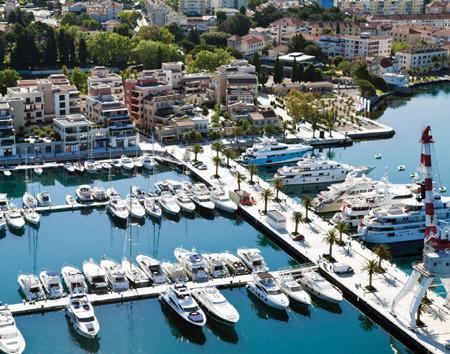 View of Porto Montenegro. Bayview Apartments Tivat Montenegro
