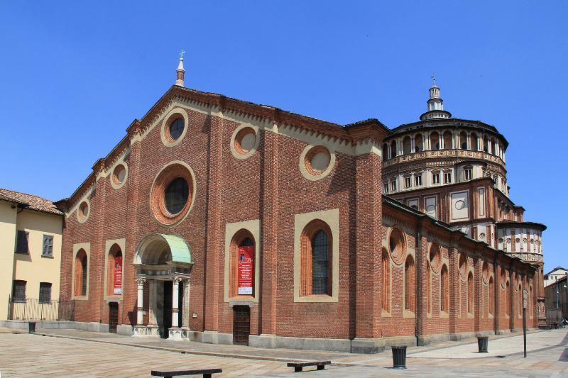 The Saint Mary's of the graces church and The Last Dinner of Christ by Leonardo da Vinci.