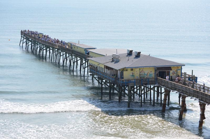 Sunglow Pier and Crabby Joe's Restaurant - just a 1/2 mile walk on the beach