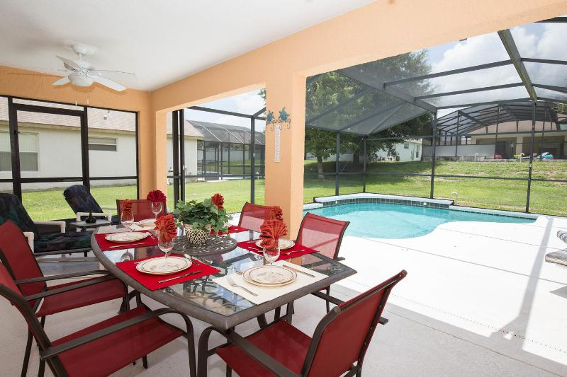 The Pool and eight seater Al fresco dining table