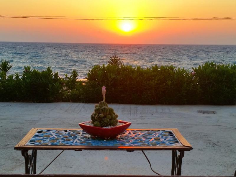 Terrace with sunset