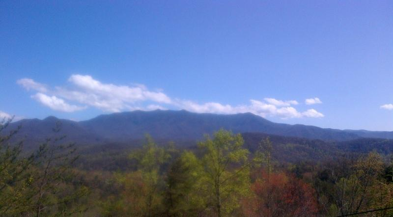 View of Mount LeConte from the deck