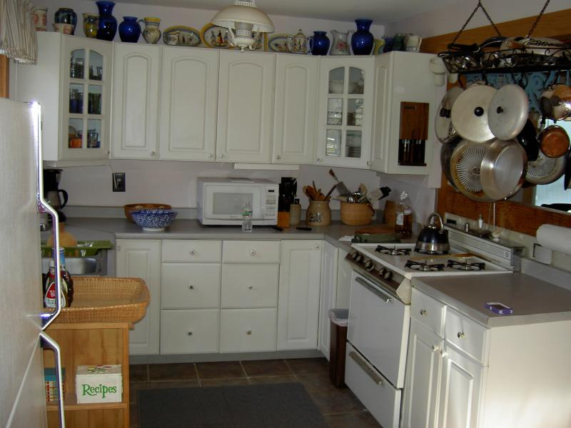 Full kitchen inside,,,BBQ grill and private patio outside