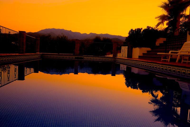 Sun set at the pool