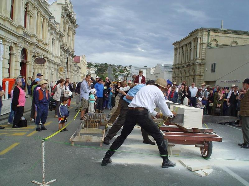 Stone sawing comps at November  Oamaru Victorian Heritage Celebrations