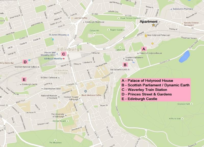 A map of some of the key tourist sites relative to the flat