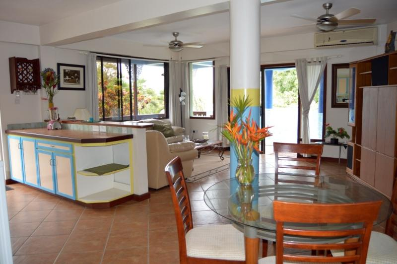 Dining area and living room for a relaxing day in Marigot Bay.