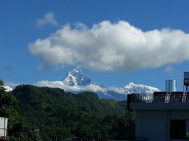 You can see Fishtail and Annapurna mountains.