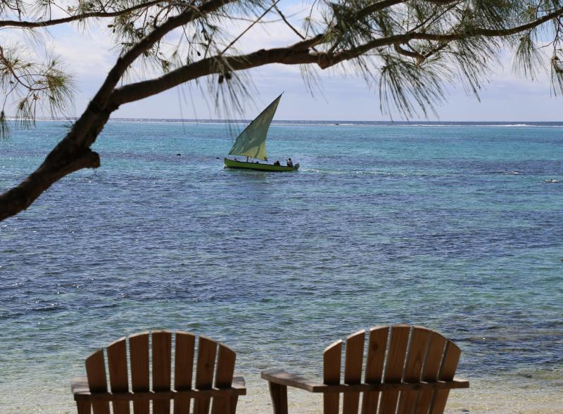 Pirogue sailing in front of the beach