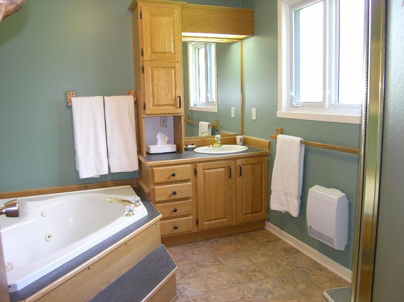 Soak in the jacuzzi tub or have a hot shower in the main floor bathroom.