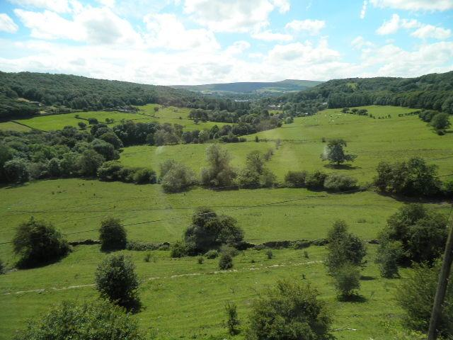 The view from the living room at the back of the cottage over Magdale valley to the Marsden moors.