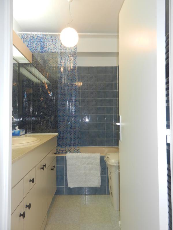 salle de bain avec baignoire et large plan vasque. Linge de toilette fourni