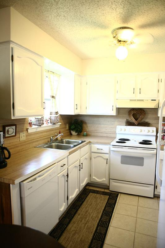 Fully equipped open kitchen, dishwasher, range, full size frig, microwave, blender and coffee maker.