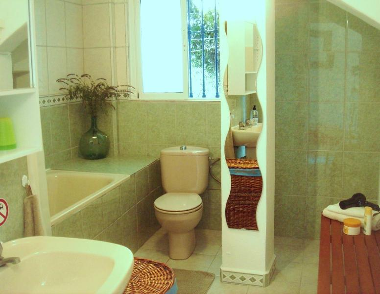 Cuarto de baño con ducha, bañera, lavadora, lavabo y vater