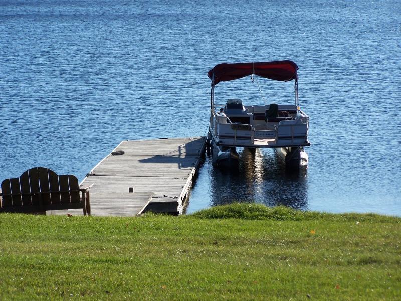Pontoon boat at one of the three docks.