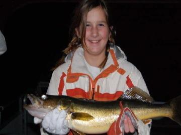 Girl's first walleye, caught on a rubber worm in the middle of the afternoon.