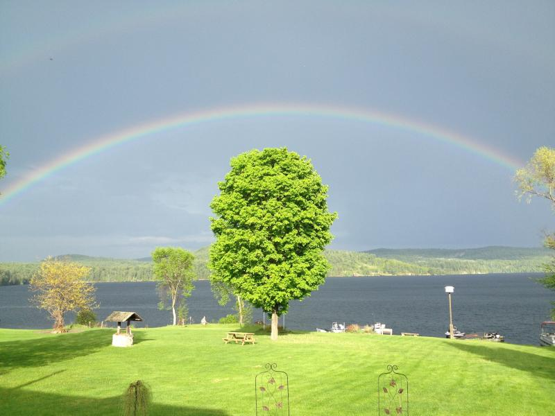 A perfect double ended rainbow over the Japanese maple on the lawn.