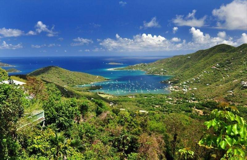 Our spectacular view overlooking Coral Bay and the BVI chain of islands.  Welcome to Villa Morena!