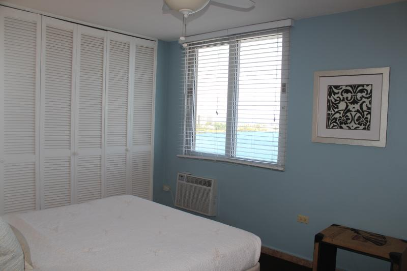 View of lagoon and bedroom.