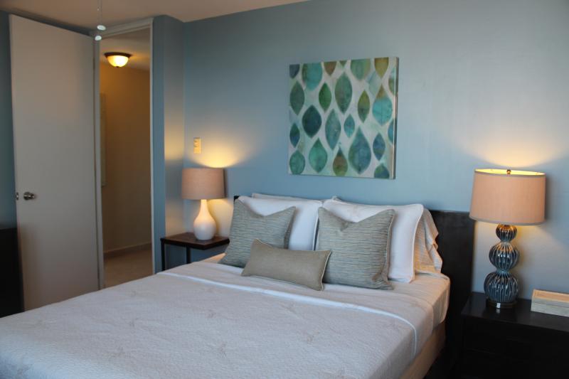 Bedroom view.  Includes flat screen tv.