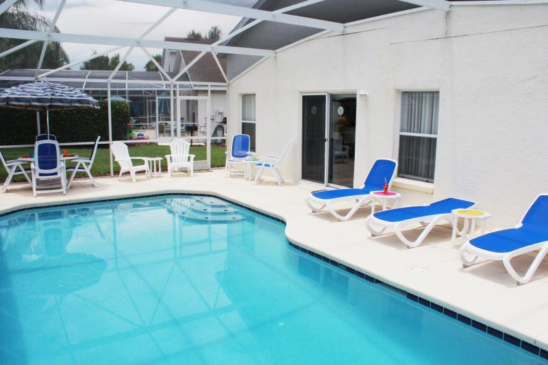 private south facing pool seats 12 comfortably and gas grill