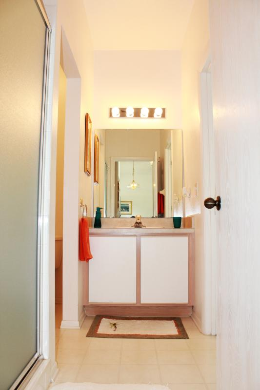 Queen attached bathroom with vanity and shower