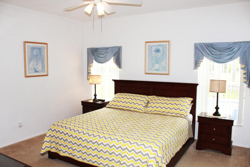 king size master with new furniture and mattress