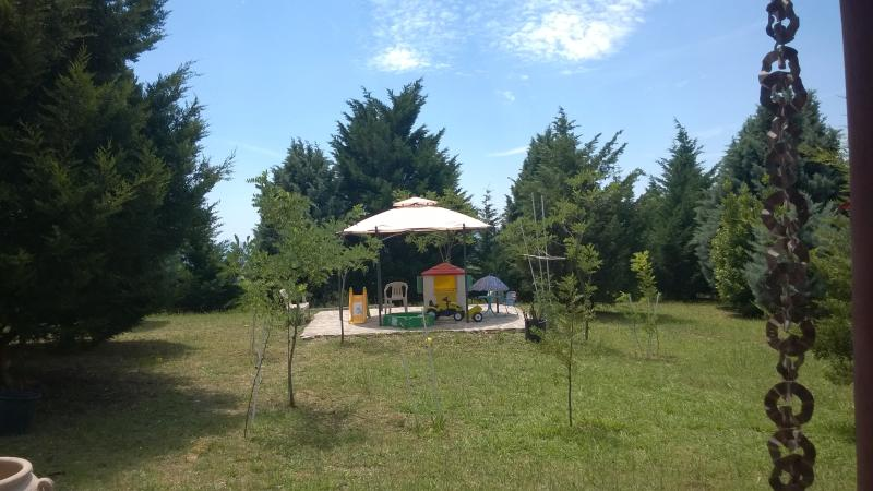 ..i bambini possono giocare  nella grande area verde recintata