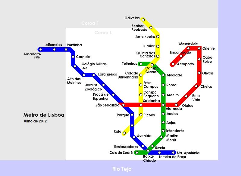 Lisbon Airport to metro stop Cais do Sodré, connected to train to CASCAIS.