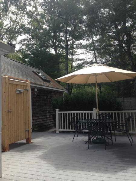 Back deck with Furniture, Outdoor Shower, and Grill