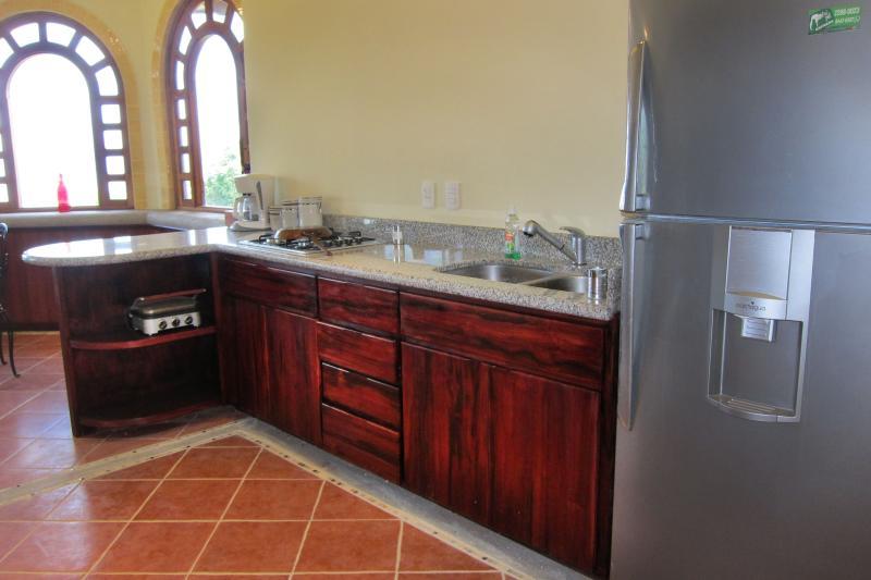 Cuisine équipée avec tigerwood armoires et comptoir de granit