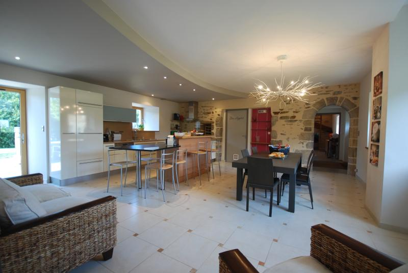 open plan dining area with designer lighting