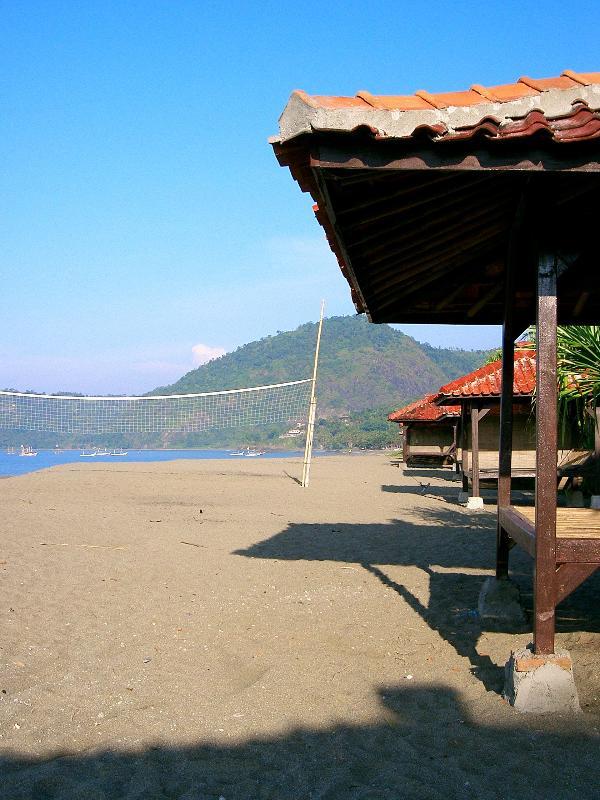 Cabanas on expansive beach