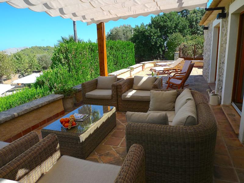 Large chill out terrace with stunning mountain view