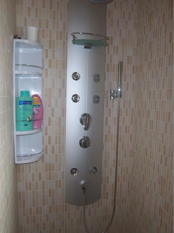Douche met hydromassage in de badkamer van de twee-appartement