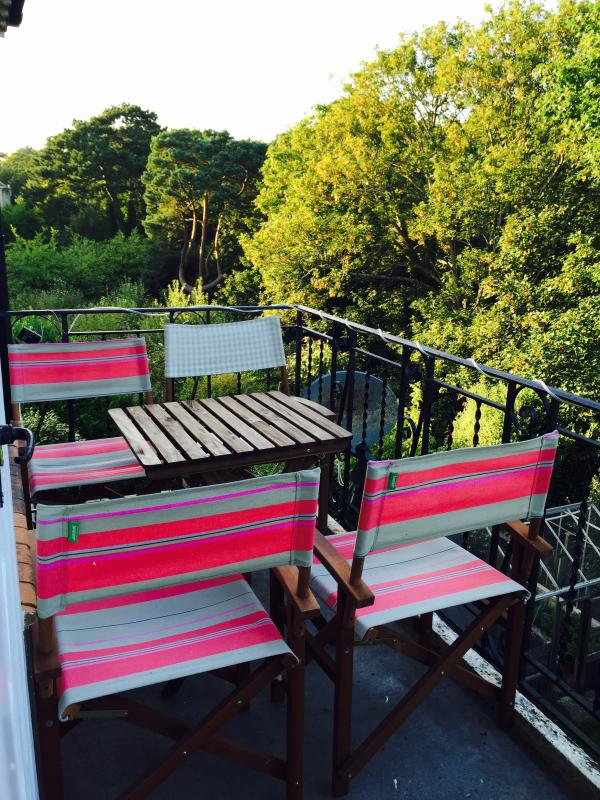 Balcony with views over Alum Chine tree tops and the sea