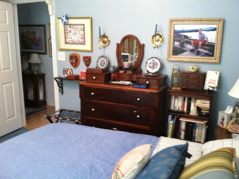 The room is traditional with nautical touches.